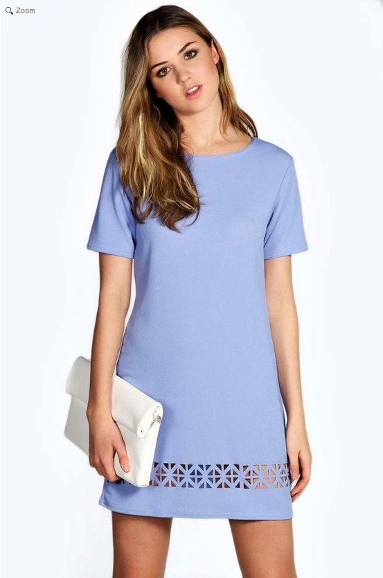 Blue Laser Cut Shift dress - Boohoo