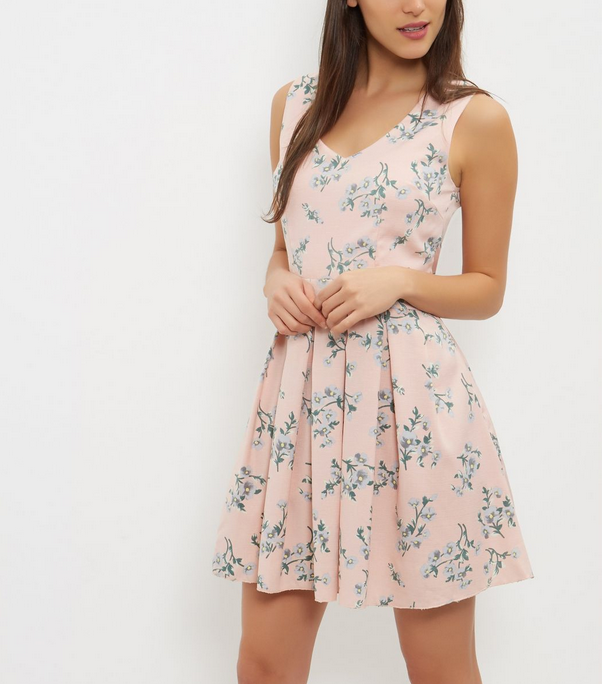 Blue Vanilla Pink Floral Print Mesh Panel Skater Dress