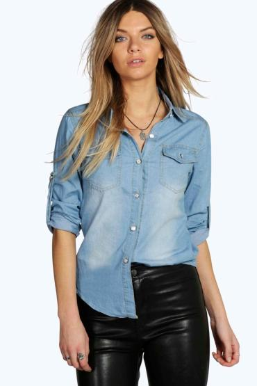 Boohoo Julia Button Front Denim Boyfriend Shirt - €24