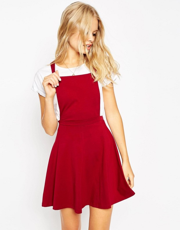 ASOS red pinafore