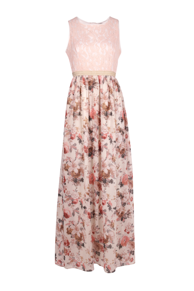 Hayley Lace Top Floral Chiffon Maxi Dress