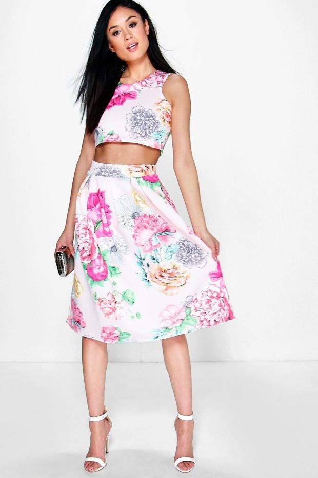 box pleated floral co ords