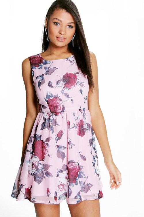 maya chiffon skater dress