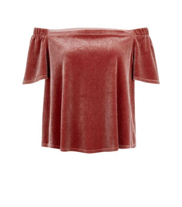 New Look AW16 burgundy velvet top